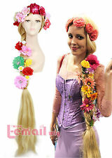 USA Ship! 120cm Long Blonde Cosplay Wig Tangled Hair With 5 Pieces Flowers C23