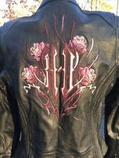 Harley Davidson Cycle Seduction Black Leather Jacket Women's Small Pink Rose