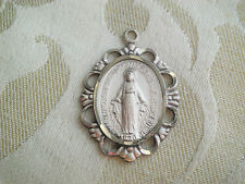 Vintage Chapel Sterling Virgin Mary Religious Miraculous Medal Scalloped Cut OUT