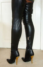 Rare Sexy LUICHINY Glossy Stretch Overknee Thigh Crotch High Heel Boots 5.5 38 8