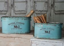 Classic Galvanized Canners National Standard Bucket Storage Barrel Set of Two 2