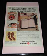 1956 General Electric Filter Flo Washer Framed ORIGINAL Advertising Display