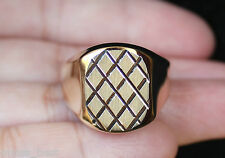New 14K Size10 Mens Flat Square Top Criss Cross Fashion Ring Gold Men's USA