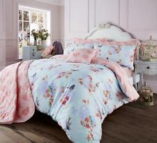 Vintage Love Birds Blue Girls Bedding Double Duvet Quilt Cover Bed Set