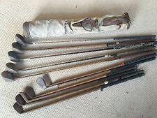 11 Vintage con Mazze Da Golf Borsa di tela legno (? Hickory) IN PELLE DECORAZIONE IN METALLO