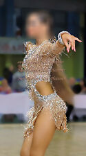 L3947 bead fringes Ballroom latin swing rumba samba dance dress us 4 sleeve
