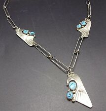 Vintage NAVAJO Sterling Silver & Old KINGMAN TURQUOISE NECKLACE Eagle Head