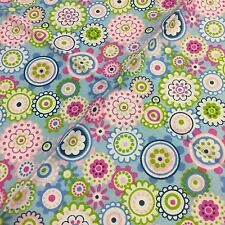 "Pink Blue Green Floral Design fat quarter 100% COTTON fabric 19"" X 15"""
