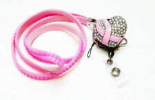 Valentine Special Rhinestone Pink Ribbon Breast Cancer retractable reel Lanyard
