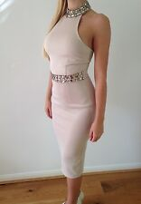 Nude Sand High Neck Tight Midi Dress Gem Jewel Detailing 6 Blogger