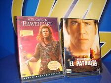 Pelicula EN DVD especial Mel gibson EL PATRIOTA y BRAVEHEART