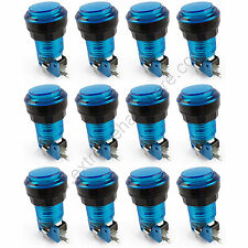 12 x 28mm Round 12v LED T10 Bulb Arcade Buttons & Microswitches (Blue) - MAME
