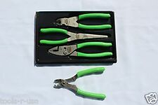 Snap On Pliers And Cutters Green Set 3 Pc. FREE Wire Striper/Crimper  PL307ACF