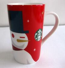 PRE-OWNED 2012 STARBUCK'S HOLIDAY RED SNOWMAN TALL MUG 16 OZ. W/ SM. CHIP ON RIM