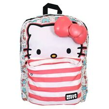 Loungefly Sanrio Hello Kitty Face Faded Red Pink Blue Striped Book Bag Backpack