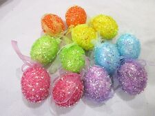 """Easter Pastel SPARKLE Eggs Egg 2.5"""" Ornaments Tree Decorations Set of 12"""