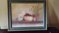 "Still Life Print Picture Bowl of Grapes Herb Tree Fall Wood Frame Green 19"" x 15"