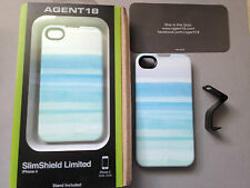 AGENT 18 SLIM SHIELD BACK CASE COVER & STAND FOR APPLE iPHONE 4 4S - VENICE BLUE
