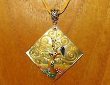UNIQUE KLIMT REPRODUCTION hand painted TREE OF LIFE Shell pendant necklace Gift