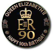 """90th BIRTHDAY OF HM QUEEN ELIZABETH II~ COMMEMORATIVE SOUVENIR ~2.2""""/55 mm BADGE"""