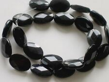 Black onyx faceted flat oval beads 18x13mm
