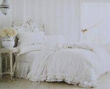 Simply Shabby Chic White Poplin Ruffle Lace Duvet Set KING BEACH HOUSE BEDDING