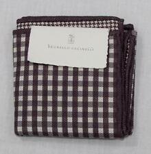 $175 NWT Brunello Cucinelli Brown Ivory Check Mini Houndstooth Pocket Square