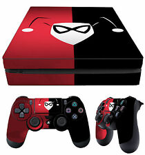 PS4 Slim Skin Harley Quinn Red & Black + Controller Decals Vinyl New LAY FLAT