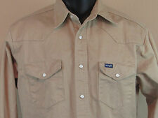 Men's Vintage WRANGLER LS Beige Denim Pearl Snap Western Work Shirt - 15 1/2