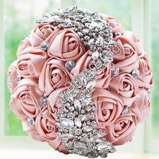 Brautstrauß Hochzeitsstrauß Rosen Strass Broschen Braut Standesamt Altrosa Rosa