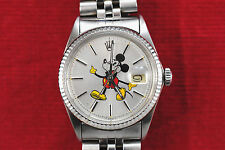 MANS ROLEX DATEJUST WATCH STAINLESS,  CUSTOM MICKEY MOUSE DIAL, WHITE GOLD BEZEL