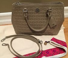 Tory Burch Robinson Floral Perforated Saffiano Tote Double Zip French Gray $550