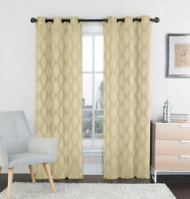 "Two (2) Natural Linen and Beige Window Curtain Panels: 76"" x 84"", Grommets, IKAT"