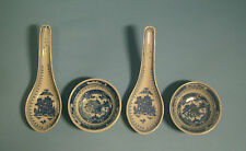 Chinese blue & white porcelain spoons & sauce dishes with landscape motif s4 c