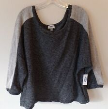 Old Navy Womens XL Gray Blended Two Tone Poly Cotton Sweater Dolman Cropped Wide