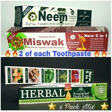 6 PACK MIX Neem Miswak Herbal Essential Toothpaste 5 IN 1 FORMULA ORAL CARE NEW