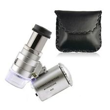 Mini 60X Zoom Magnification LED Pocket Microscope Jeweler Magnifier Glass Loupe
