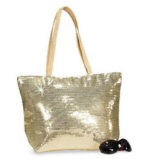 FREE SHIPPING! GOLD Large! Sequin Purse Handbag Tote With Pocket NEW Zipper
