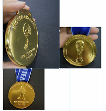 Brazil 2014 Soccer World Cup 'Gold' Medal with Silk Ribbon  & Display Stand