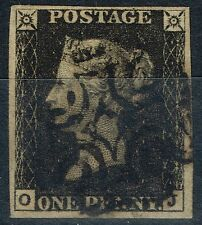 GB 1840 1d Penny Black SG2 (0-J) Pl 6 V.F.U 4 Large Margins Spot on Black MX