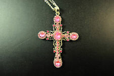 LADIES SILVER / PINK CROSS  ABSTRACT NECKLACE CHUNKY STONES UNIQUE ITEM (CL10)