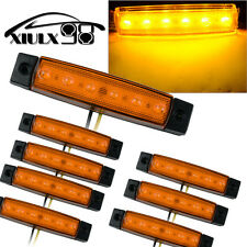 8X Yellow 6LED Car Bus Van Truck Trailer Side Marker Indicators Lights Sealed US