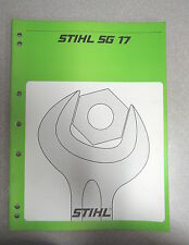 Stihl SG 17  Mistblower BG 17 Airbroom Service Repair Manual