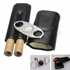 New Black Travel Leather Cigar Case Humidor Holder 2 Tube With Cutter Set Gift