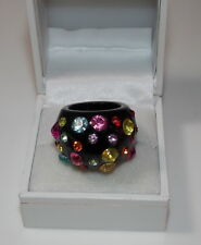 Chunky Black Plastic Dome Fashion 6.5 Ring Multicolor Rhinestone Polka Dot 8d 68