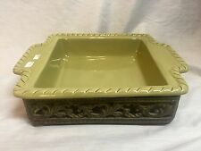 Gracious Goods GG Collection Ceramic Square Baker w/ Metal Base - Green