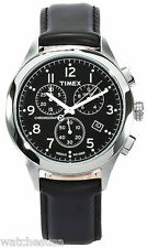 Timex T2M467 T-Series Black Dial Leather Strap Chronograph Men's Watch