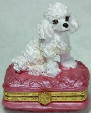 "Poodle Trinket Jewel Box Sitting on a Pink Cushion 5cm (2"") BOX 8167 NEW"