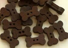 Lot of 10 BROWN BONE 2-hole Wooden Buttons 15mm x 8mm (555) Craft Scrapbook
