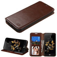 For LG K8 Phoenix 2 Flip Wallet Leather Case Protective Cover Pouch Folio BROWN